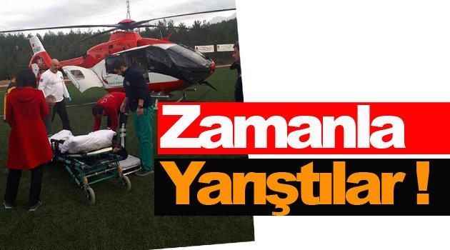 Ambulans helikopter eli kesilen çocuk için havalandı