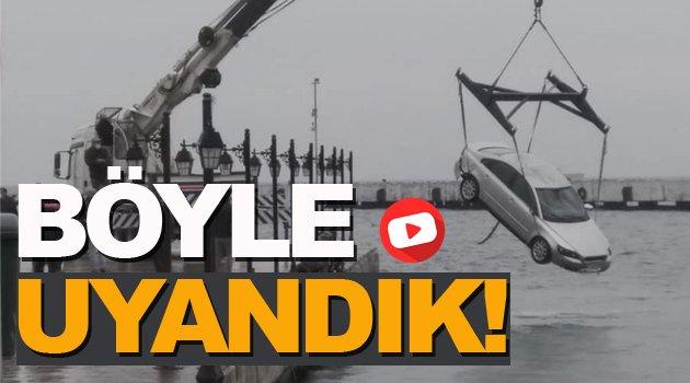Sinop'ta bir otomobil denize uçtu.