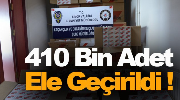 Sinop'ta 410 bin bandrolsüz makaron ele geçirildi