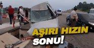 Aşırı hız sonucu trafik kazası 1 yaralı
