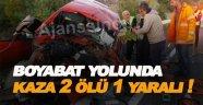 Boyabat Yolunda kaza 2 ölü 1 yaralı