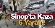Sinop'ta iki otomobil çarpıştı: 6 yaralı