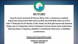 Sinop Valiliği'nden İl Sınırları İçerisinde Etkinliklerin Yasaklanması Kararı