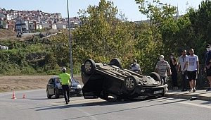 Otomobil ters döndü, 1 Yaralı!