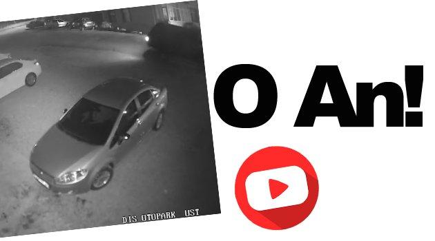 Aracın ağaca çarpması kamerada